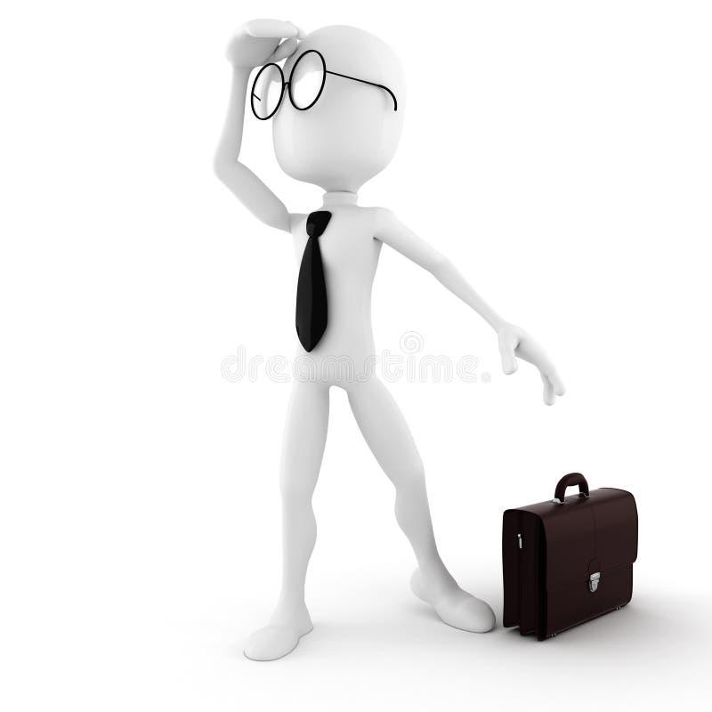 uomo d'affari dell'uomo 3d che cerca opportunità di lavoro illustrazione di stock