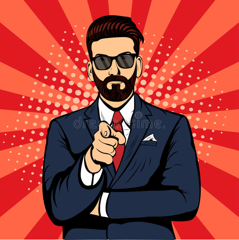 Uomo d'affari della barba dei pantaloni a vita bassa che indica illustrazione di vettore di Pop art del dito la retro illustrazione vettoriale