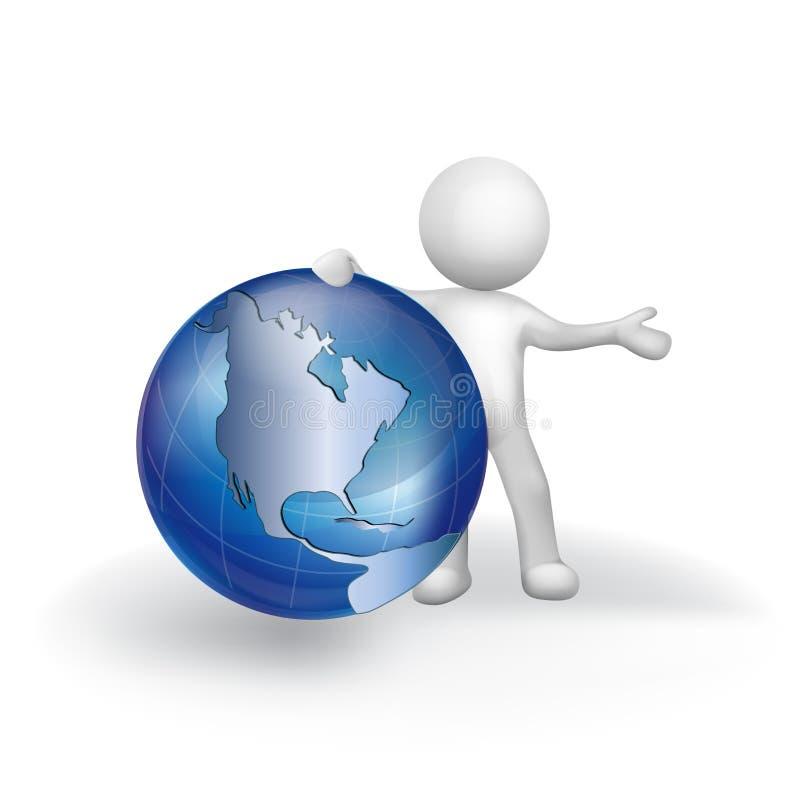 uomo d'affari della gente bianca 3d e logo dell'icona della mappa di mondo illustrazione vettoriale