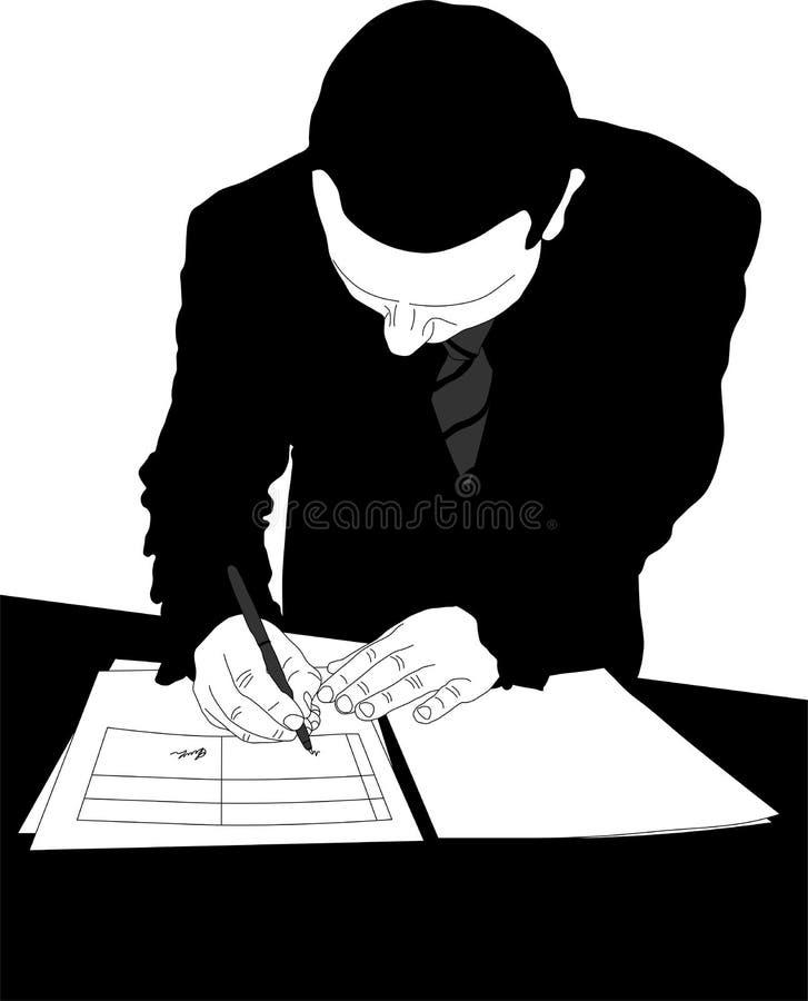 Uomo d'affari della siluetta illustrazione di stock