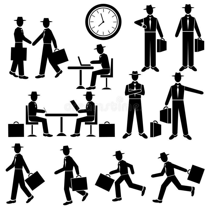 Uomo d'affari della siluetta - insieme di vettore Camminata e correre, aspettante, sul lavoro L'uomo si siede alla tavola Riunion royalty illustrazione gratis