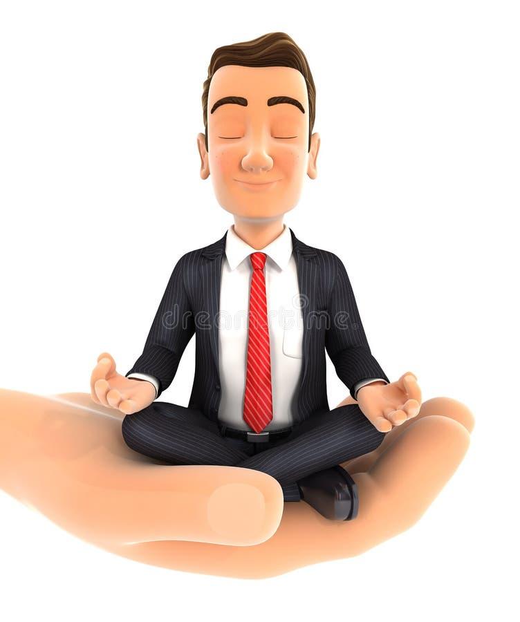 uomo d'affari della tenuta della mano 3d che fa yoga illustrazione vettoriale