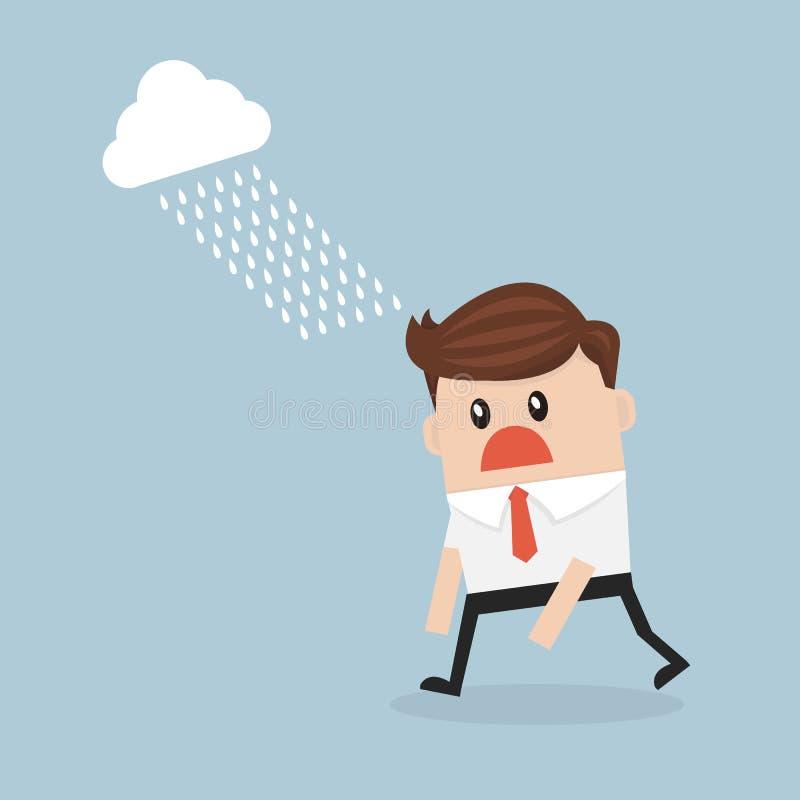 Uomo d'affari depresso che cammina nella pioggia illustrazione vettoriale