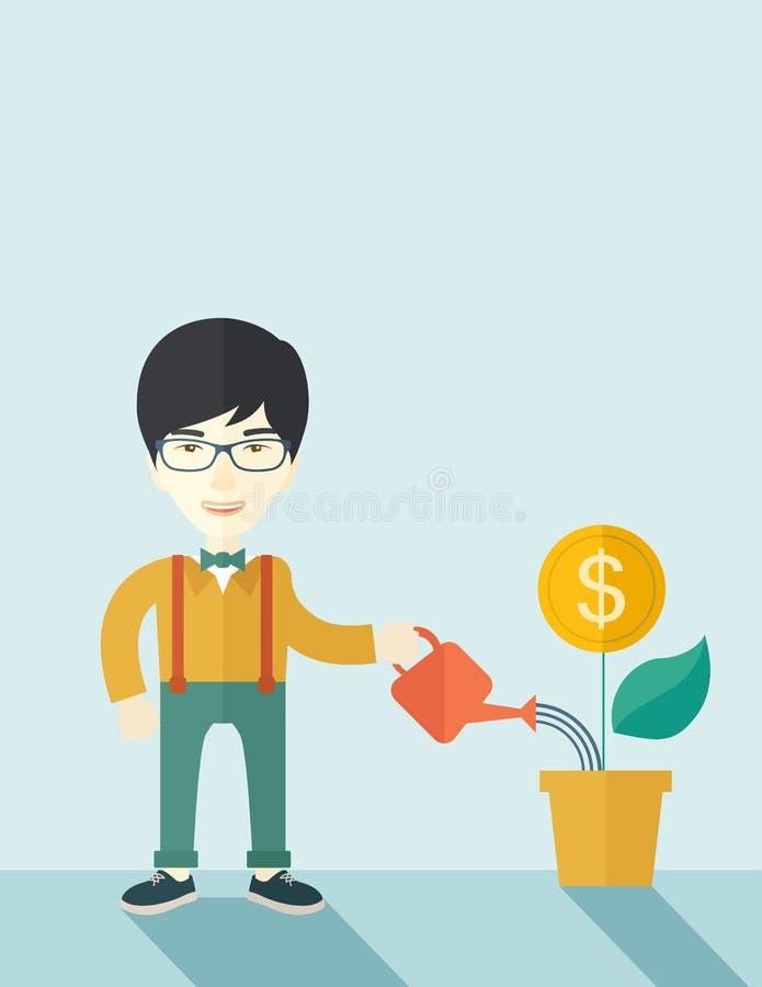 Uomo d'affari di Chines che innaffia una pianta crescente illustrazione di stock