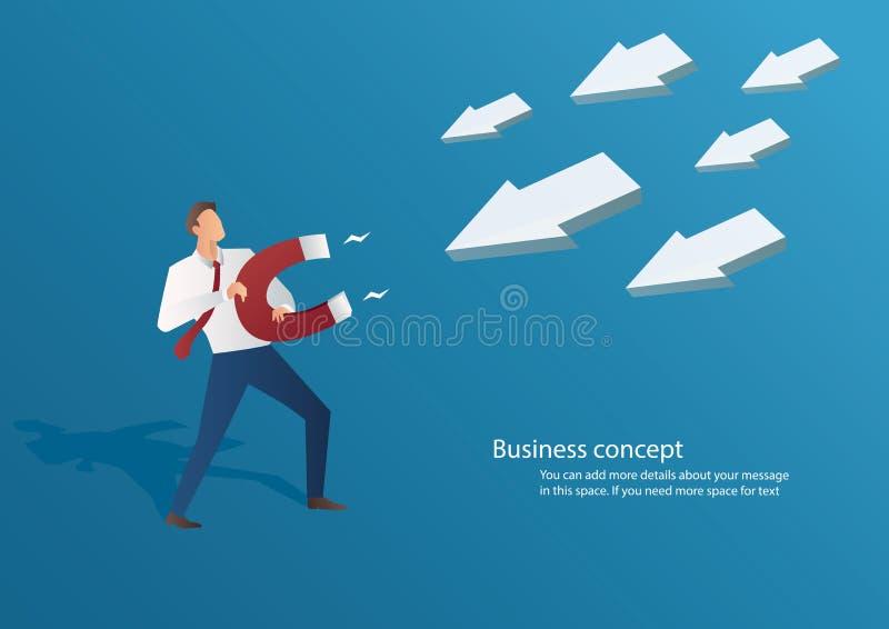 Uomo d'affari di concetto di affari che attira l'icona della freccia illustrazione di stock