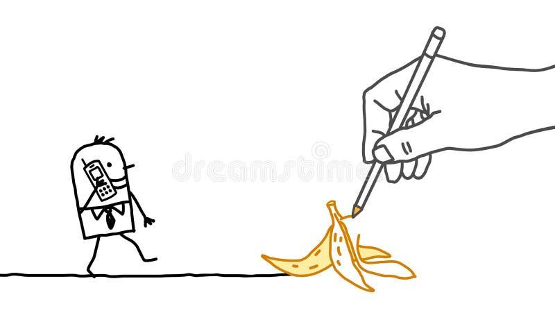 Uomo d'affari di disegno del fumetto e della mano grande - buccia della banana illustrazione vettoriale
