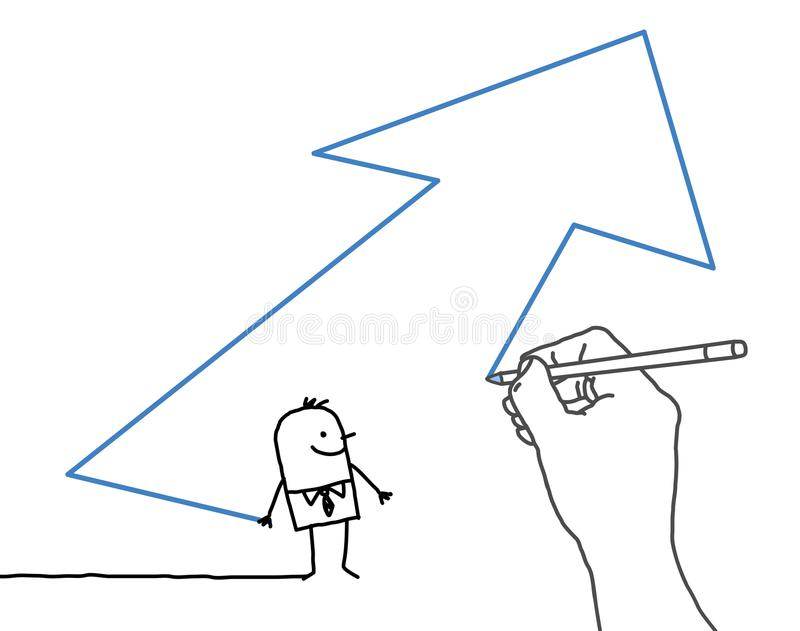 Uomo d'affari di disegno del fumetto e della mano grande - freccia di direzione illustrazione di stock