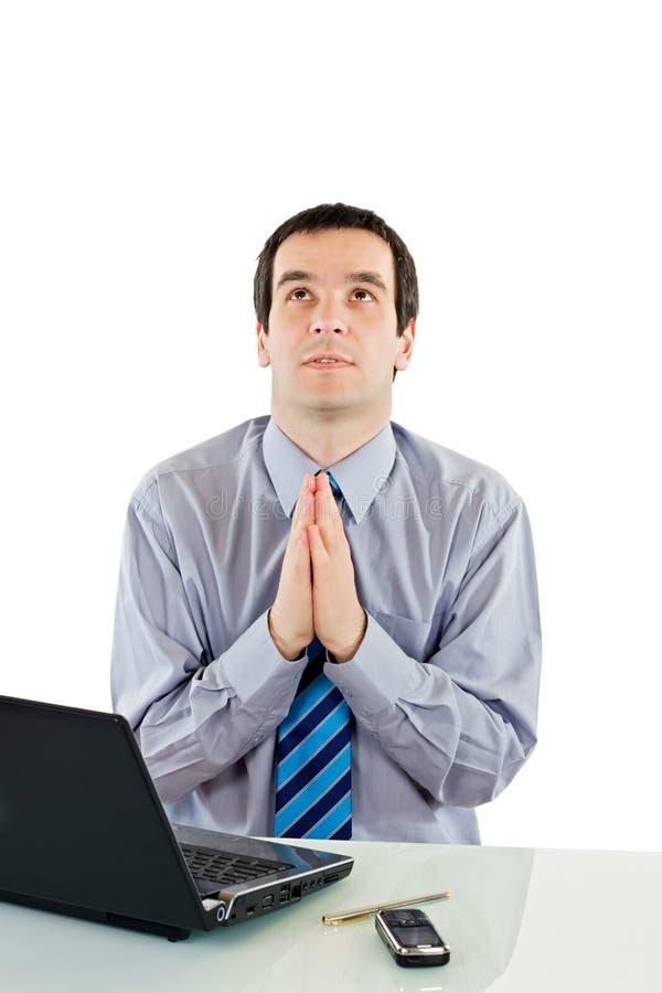 Uomo d'affari di preghiera immagini stock libere da diritti