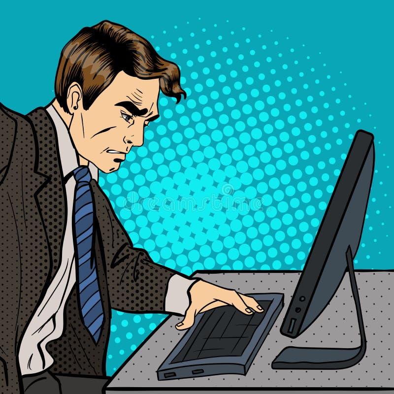 Uomo d'affari di rabbia Uomo d'affari Works al computer Pop art illustrazione di stock