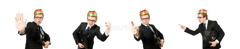 Uomo d'affari di re nel concetto divertente fotografia stock