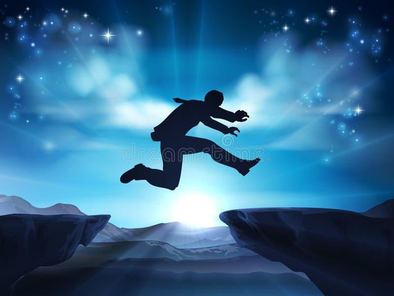 Uomo d'affari di salto della siluetta illustrazione di stock