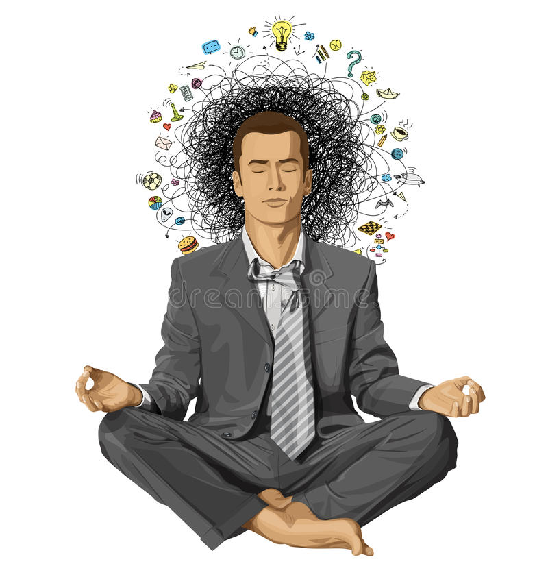 Uomo d'affari di vettore in Lotus Pose Meditating royalty illustrazione gratis