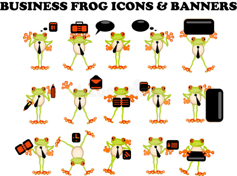Uomo d'affari di Web site delle icone della rana di affari illustrazione vettoriale