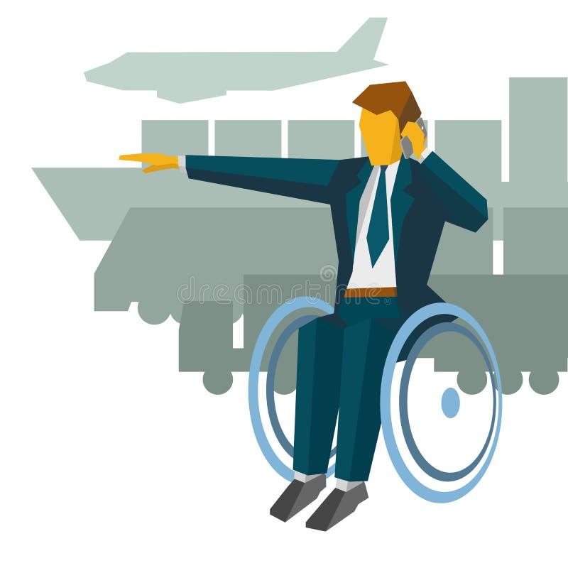 Uomo d'affari disabile nella manifestazione della sedia a rotelle il modo royalty illustrazione gratis