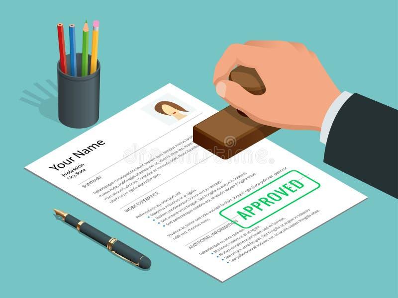 Uomo d'affari disponibile del bollo approvato e documento approvato con il bollo, penna Illustrazione isometrica di vettore royalty illustrazione gratis