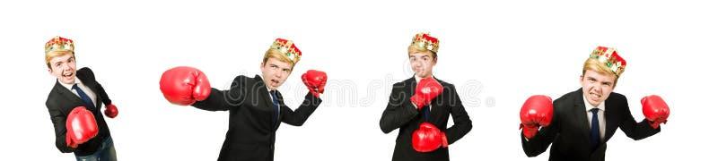 Uomo d'affari divertente con la corona ed i guantoni da pugile fotografia stock