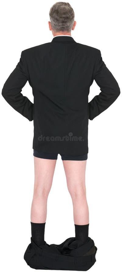Uomo d'affari divertente Pants Down Isolated fotografie stock libere da diritti