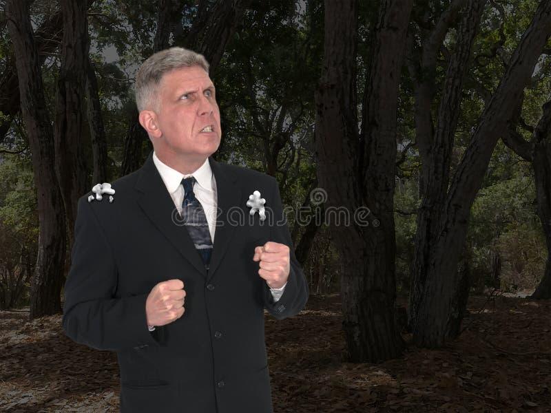 Uomo d'affari divertente, poppa dell'uccello, arrabbiata fotografie stock libere da diritti