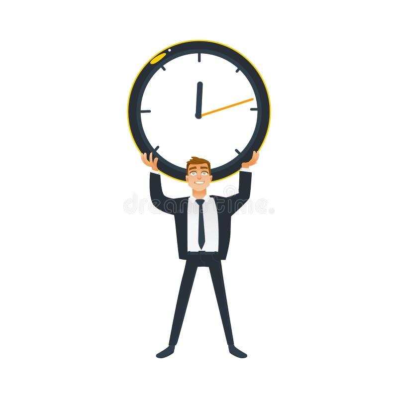 Uomo d'affari e concetto di tempo - il giovane impiegato di concetto in vestito sta e giudica il grande orologio di parete soprae illustrazione di stock