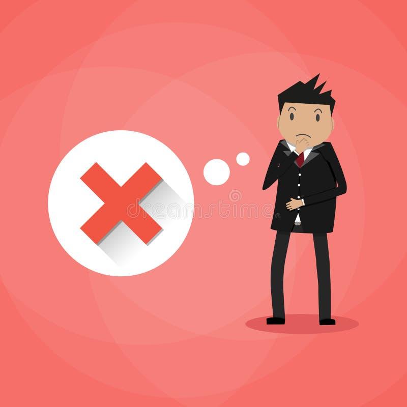 Uomo d'affari e croce rossa tristi del fumetto royalty illustrazione gratis