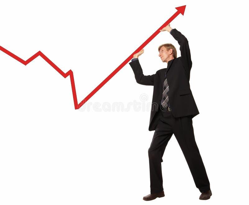 Uomo d'affari e diagramma immagini stock