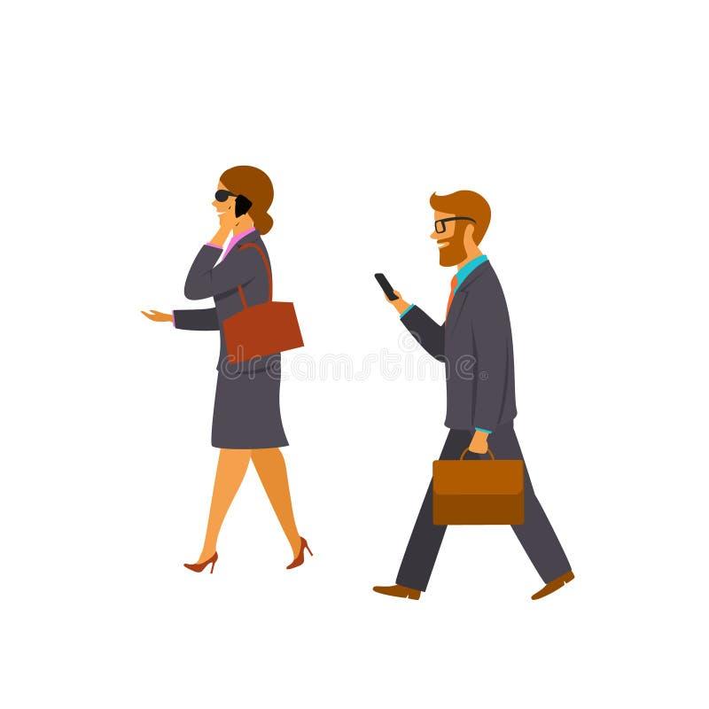 Uomo d'affari e donna di affari che camminano all'ufficio royalty illustrazione gratis