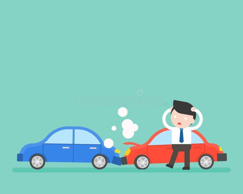 Uomo d'affari e incidente stradale, situazione aziendale pronta per l'uso illustrazione di stock