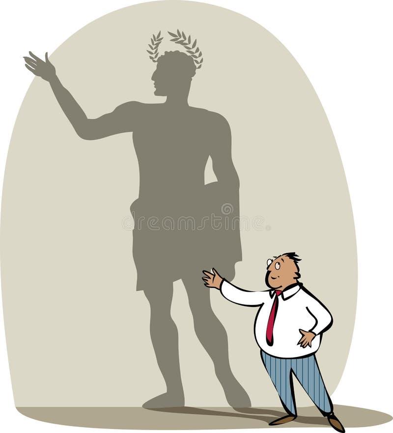 Uomo d'affari e la sua ombra illustrazione vettoriale