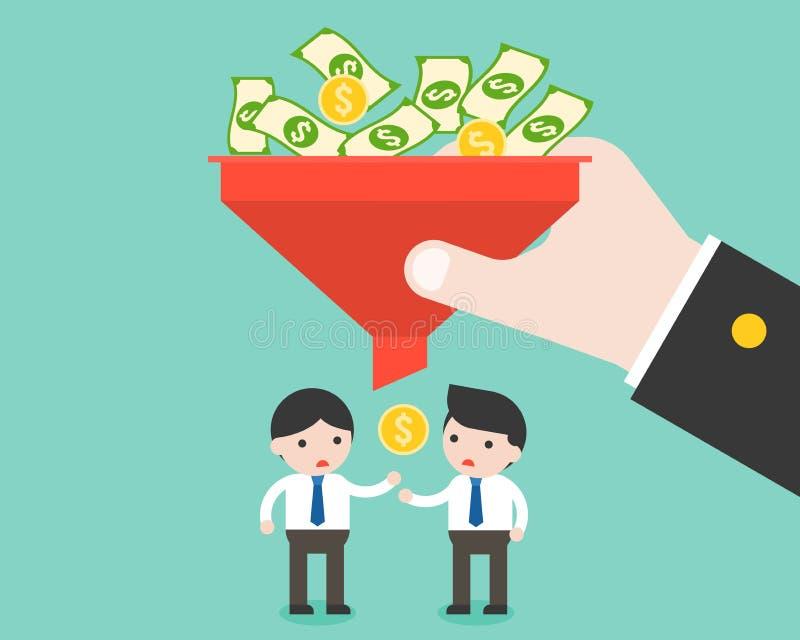 Uomo d'affari e piccoli soldi dal filtro, pagato e disuguale ingiusti illustrazione vettoriale