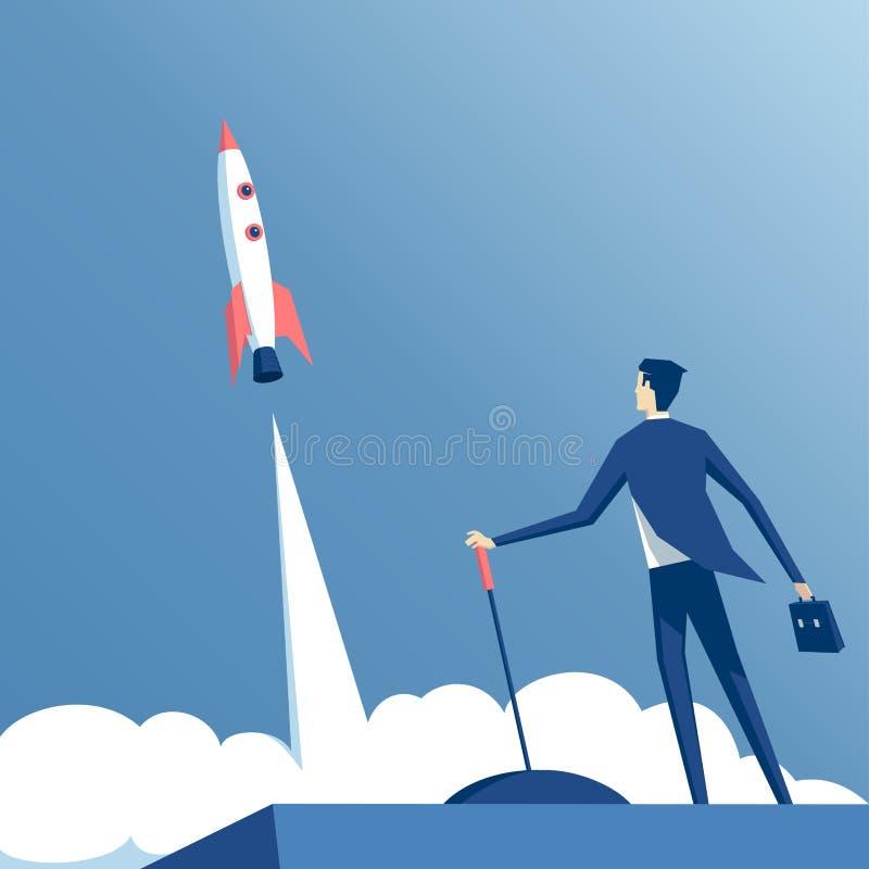 Uomo d'affari e razzo illustrazione di stock