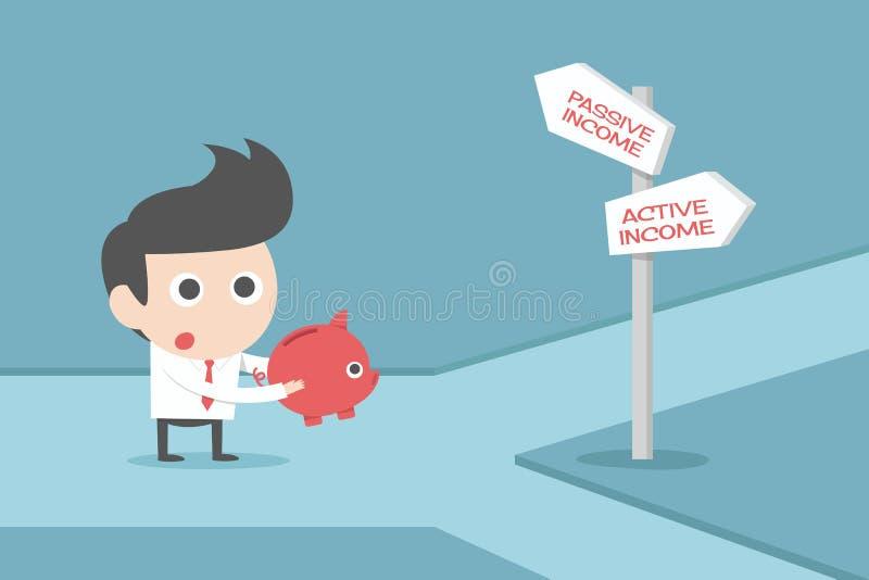Uomo d'affari e segni illustrazione di stock