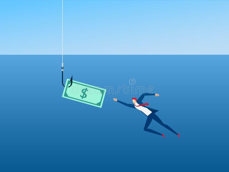 Uomo d'affari e soldi sul gancio come capitalismo dell'esca Concetto della trappola dei soldi illustrazione vettoriale