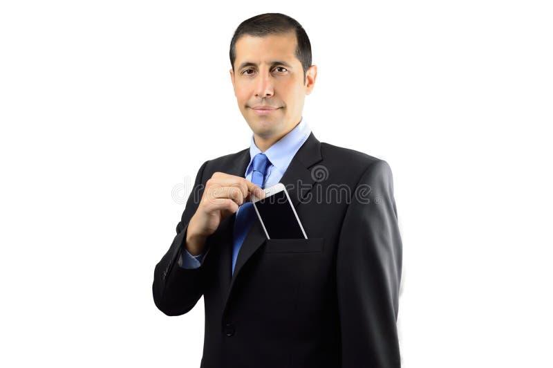 Uomo d'affari e telefono fotografie stock