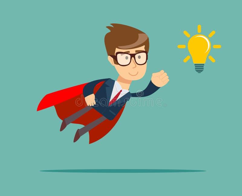 Uomo d'affari eccellente in capo rosso che vola alla lampadina di idea royalty illustrazione gratis