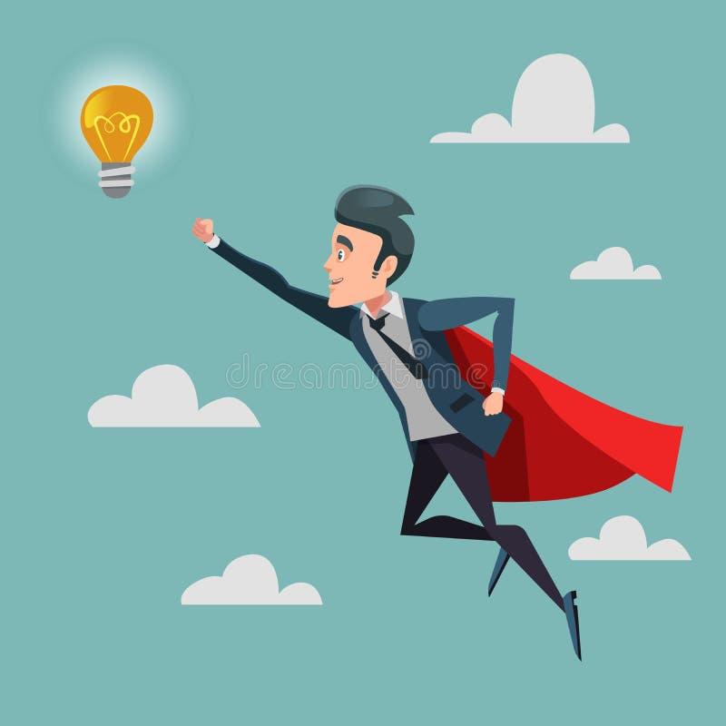 Uomo d'affari eccellente in capo rosso che vola alla lampadina di idea Innovazione di affari royalty illustrazione gratis