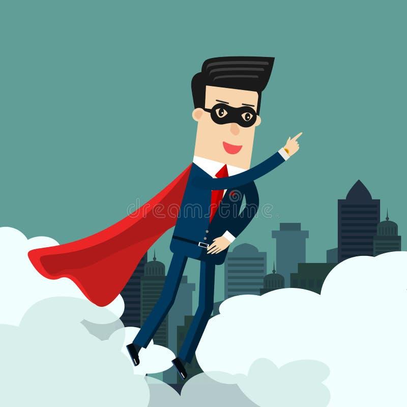 Uomo d'affari eccellente nel cielo Illustrazione di concetto di affari illustrazione vettoriale
