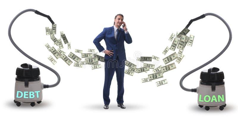 Uomo d'affari ed aspirapolvere che succhia soldi da lui fotografie stock
