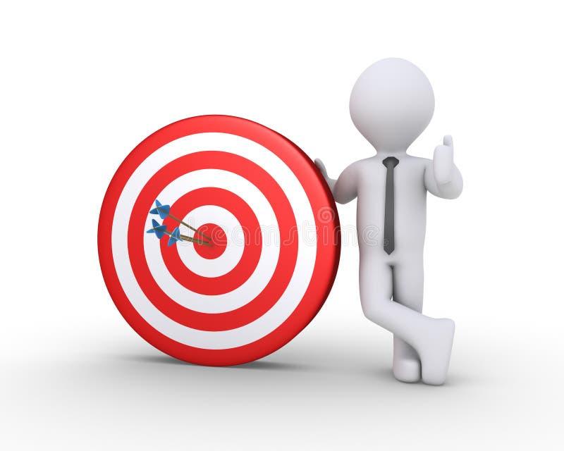 Uomo d'affari ed obiettivo con le frecce illustrazione di stock