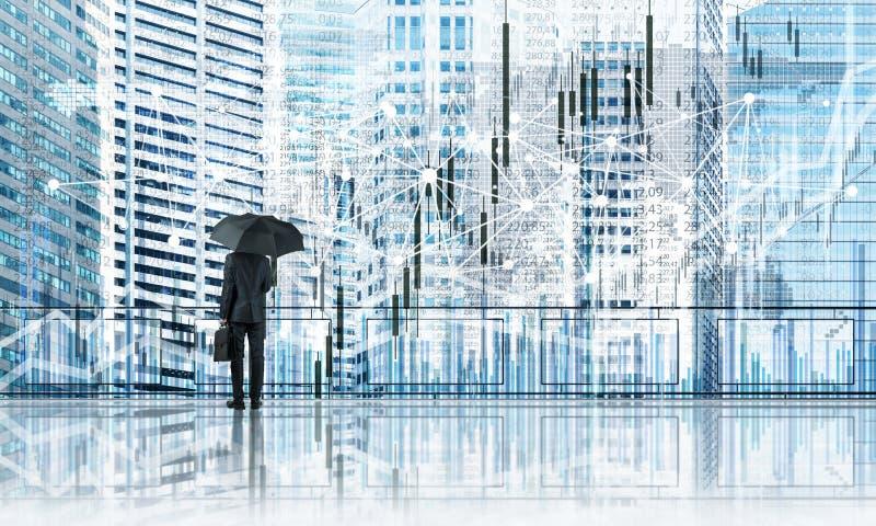 Uomo d'affari elegante che sta con il paesaggio urbano moderno posteriore e di sguardo di affari Media misti fotografie stock