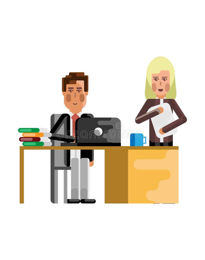 Uomo d'affari europeo che lavora al computer portatile illustrazione di stock