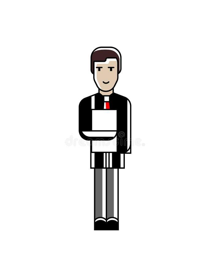 Uomo d'affari europeo che sta con i documenti illustrazione vettoriale