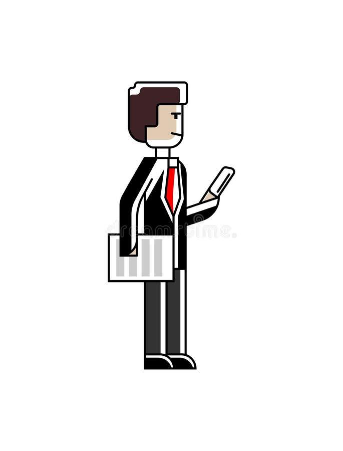 Uomo d'affari europeo che sta con il documento illustrazione di stock