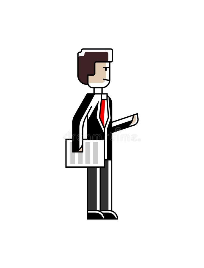 Uomo d'affari europeo che sta con il documento royalty illustrazione gratis