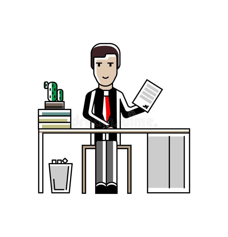 Uomo d'affari europeo con il contratto alla scrivania royalty illustrazione gratis