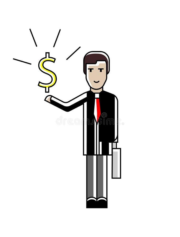 Uomo d'affari europeo con il simbolo di dollaro a disposizione illustrazione vettoriale