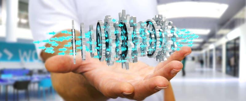 Uomo d'affari facendo uso del fare galleggiare la rappresentazione moderna del meccanismo di ingranaggio 3D royalty illustrazione gratis