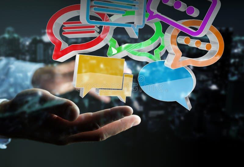 Uomo d'affari facendo uso del ico variopinto digitale di conversazione della rappresentazione 3D illustrazione di stock
