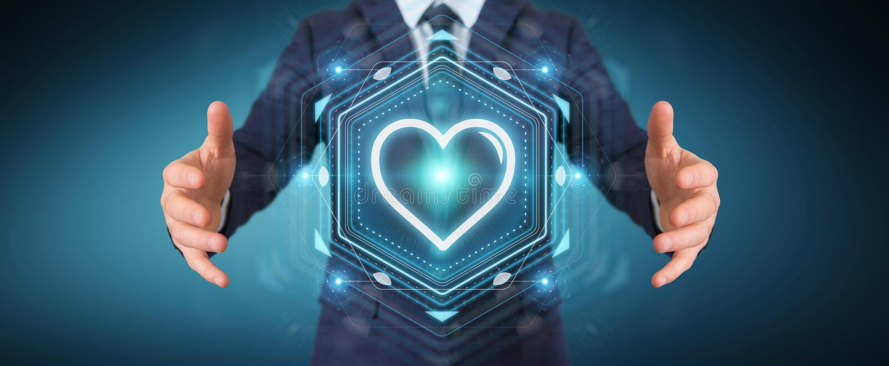 Uomo d'affari facendo uso dell'applicazione di datazione per trovare amore 3D online per strapparsi illustrazione vettoriale