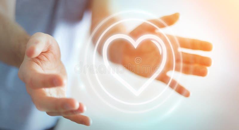 Uomo d'affari facendo uso dell'applicazione di datazione per trovare amore 3D online per strapparsi illustrazione di stock