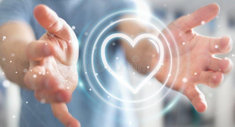 Uomo d'affari facendo uso dell'applicazione di datazione per trovare amore 3D online per strapparsi royalty illustrazione gratis